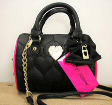 Betsey Johnson Be Mine Quilted Heart Black White Pink Mini Barrel Purse MSRP $68