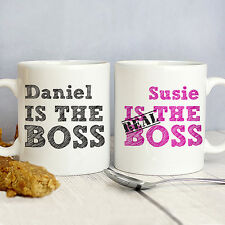 The Real Boss Mug Set Personalised Couples Mugs Wedding Gifts with Free Delivery
