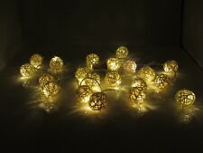 Battery Powered Warm White Rattan Balls LED Fairy Lights 2M 20LED: ON+Flash Mode