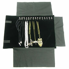 """Portable Jewelry Roll  Necklace Travel Storage Displays Holder 16 Chain 22""""x 12"""""""