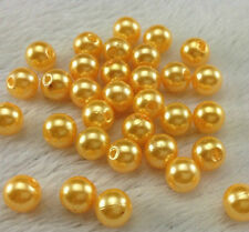 100pcs golden Round Imitation Pearl 6MM ABS Plastic  Beads Jewelry making @4