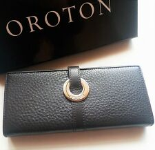 New OROTON Wallet Essentials Slim Clutch Purse Leather Box RRP$225 Chocolate