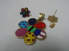 New Multi-Color Flower design Stainless Steel Pendant & Earring Jewelry set Gold
