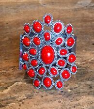 BOLD & DRAMATIC SIMULATED CORAL STRETCH BRACELET SPECTACULAR!!!