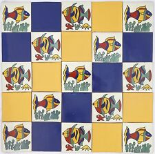Pack of 25 Assorted Mexican Handmade 10.5cm Tiles: 'Peces Tranquilo'