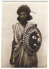 "Eritrea WARRIOR w SHIELD ""BILEN"" KRIEGER m SCHILD * Vintage 30s Photo PC"