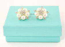 Audrey Hepburn Silver & White Faux Pearl Round Flower Crystal Cluster Earrings