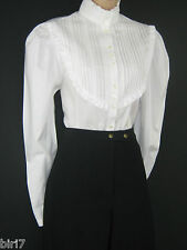 LAURA ASHLEY VINTAGE VICTORIAN/EDWARDIAN WHITE PIN TUCK BIP RUFFLE BLOUSE, 12