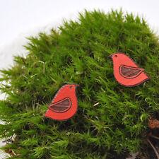 Pájaro Rojo con Alas de postes de madera de nogal negro Pendientes Joyas