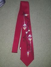 True Vintage Hand Painted All Silk Retro Swing 1940s 1950s Skinny Tie Red