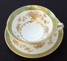 Vintage MINTON Bone China England Green DYNASTY #H5003 Set Footed Cup & Saucer