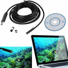 5M Waterproof 7mm 6 LED USB Endoscope Borescope Inspection Snake Video Camera