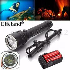 8000LM 3x T6 LED Linterna Buceo Submarino Flashlight Diving+18650+Cargador