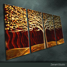 "Metal Wall Art  Painting Sculpture Indoor Outdoor Decor ""Brown Tree"" By Zenart"