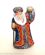 Blue SANTA with LANTERN Russian Wooden Hand Carved Hand Painted Signed