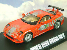 GREENLIGHT DIECAST 1/43 DOM'S 1993 MAZDA RX7 RX-7 RED THE FAST & FURIOUS 86204