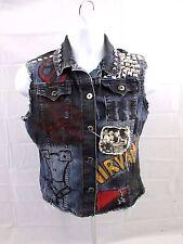 Women's Vintage 90's NW Punk Rocker Grunge homemade studded Jean Vest Jacket