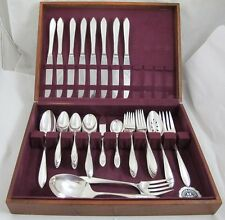 54 Pc LUFBERRY 1915 Deco WM Rogers IS Silverplate Flatware 8 Place Set & Chest