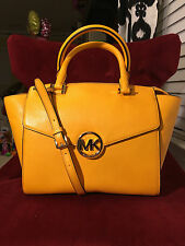 NWT MICHAEL MICHAEL KORS LEATHER HUDSON LARGE SATCHEL BAG IN VINTAGE YELLOW