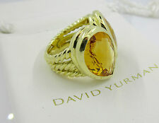 SIGNED HEAVY DAVID YURMAN 18K GOLD CITRINE RING