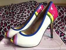 Ladies size 6 multi block colour peep toe shoes with high heel