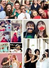 58pcs Creative Photo Booth Props Mustache Studio Wedding Birthday Party Funny