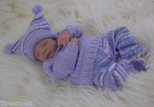 Baby Knitting Pattern DK #55 TO KNIT Girls - Reborn Dolls Sweater Leggings Hat