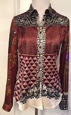 ETRO Iconic ITALY Silk BLOUSE Size 40 Beautiful Multi Color Prints EUC