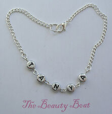 "Silver Plated Ankle Chain Anklet  Length 10"" Personalised With Any name"