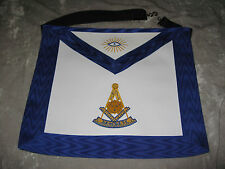 White Blue Trim Masonic Past Master Apron Freemason Leather Style NEW!