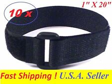 "Lot of 10 Cable Tie Down Strap Hook and Loop Strap Reusable 1"" x20"" USA SELLER"