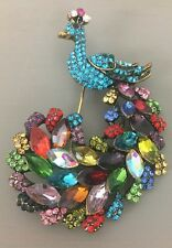 """Peacock Pin Brooch Rhinestone Gold Tone Multicolor Plume New Antiqued 3"""" Bling"""