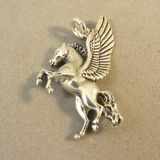 .925 Sterling Silver PEGASUS REARING CHARM NEW Pendant Horse Fantasy 925 MY21