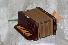 antique Xaprcib wood small accordion 3 top button 7 side key / buttons Child Toy