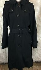 London Fog Womens Short Single Breasted Trench Coat Black Hooded Size Small