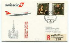 FFC 1983 Swissair First Flight B 747 300 Zurich Boston USA REGISTERED Furstentum