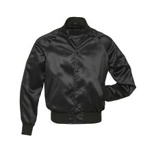Men's Satin Solid Black Baseball Varsity Letterman School College Jacket