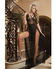 Chic New Lingerie Sheer Lace Gown Double Front Slit Straps Thong Black One Size