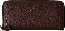 COACH 57298B  Boxed Daisy Rivets Slim Accordion Oxblood Purple Checkbook  Wallet