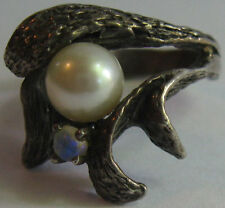 GREAT VINTAGE STERLING SILVER GENUINE PEARL MOONSTONE ARTISTIC SIZE 4 RING