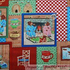 BonEful Fabric FQ Cotton Quilt 3 Little Bear Baby Boy Bee Honey Patchwork Cabin