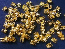 Closed loop clam shell metal bead tips clasp ends 100 pcs gold plated 3mm fpc256