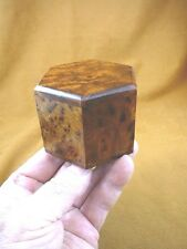 (BOX-265) BURL BOX hexagon med Thuya Wood African carved carving Morocco Exotic