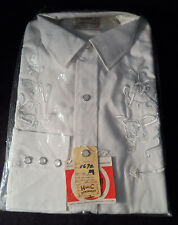 "NOS! Vintage 1950's H Bar C  Western Shirt -- 16.5"" x 34"" -- Embroidered"
