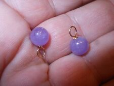 14K  Caps & Loops Set of 2 Purple Amethyst 8mm Pendants Earrings Vintage mint