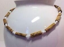 Male Mens Wooden Bamboo Bead White Necklace Surfer HippyTribal Stretch Jewellery