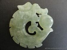 BEAUTIFUL HANDCARVED GREEN JADE DRAGON PENDANT NECKLACE PENDENT TALISMAN D15