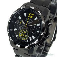 SEIKO MENS CHRONO BLACK FACE ION STAINLESS STEEL BRACELET SSB131P1
