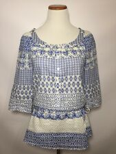 Moda International Tunic Top Blouse Peasant Boho Floral Delft Blue Drawstring S