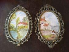 VINTAGE ANTICO 2x piccole in metallo decorata ovale CORNICI ORIGINALE OLIO DIPINTI
